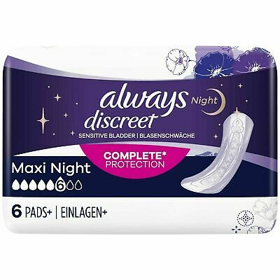 Always Discreet Sensitive Bladder Incontinence Pads Maxi Night Scented Pack of 6