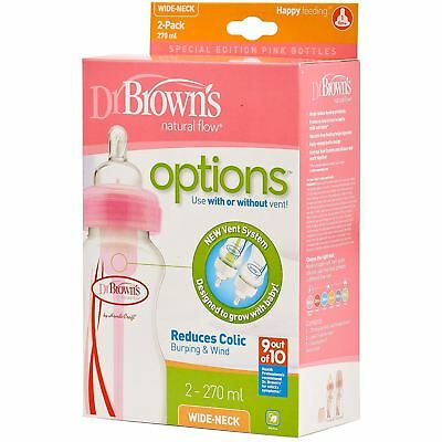 2x Dr Browns Options Wide Neck Baby Feeding Bottle Vent Reduces Colic 270ml Pink