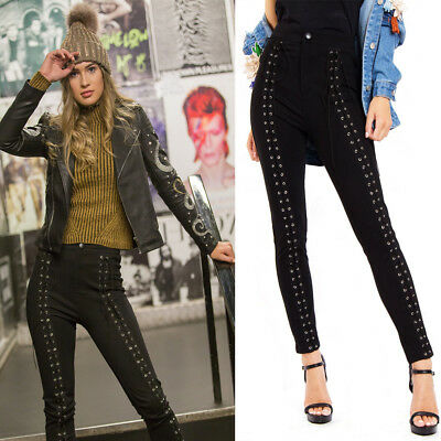 8b81edc781 New Womens URBAN MIST Black Lace Up High Waisted Stretch Skinny Trouser Pant