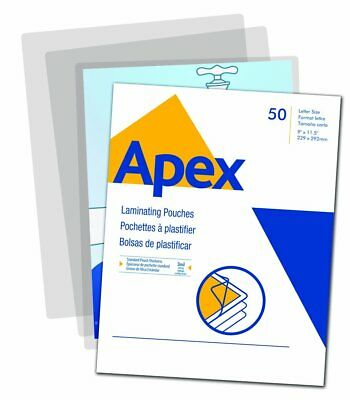 Apex Standard Laminating Pouches, Letter Size for 3 Mil Setting, 50 Pack 5242701