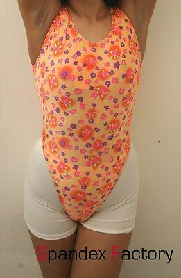 New Orange Floral Pattern Thong Leotard for Women size 8 Small