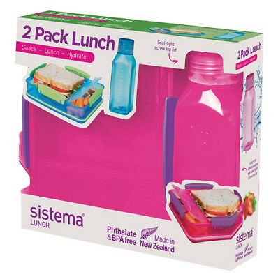 Sistema Lunch Pack, Lunch Box and Water Bottle Set, Pink Back To School Work