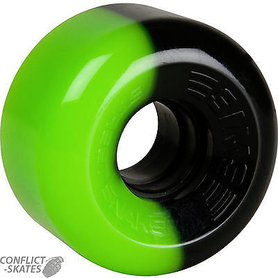 "SIMS 2-Tone ""Street Snake"" Rollerskate wheels x8 GREEN/BLACK fit Bauer, Supreme"