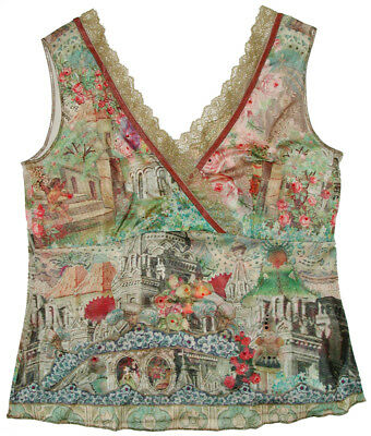 d15ef919dca Michal Negrin Vintage Style Collage Print Tank Top Cami Shirt Crystal  Camisole