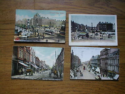 FOUR colour PC s from Ireland  1906 Belfast,Dublin and Kingstown.  NICE CLEAR