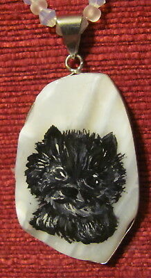 Cairn Terrier, black, hand painted on freeform white striped Agate pendant/bead/
