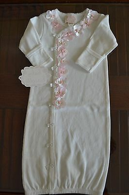 New with Tags NB Baby Biscotti White Christening Gown with Pink & White Flowers