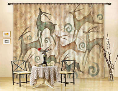 Many Abstract Deer 3D Curtain Blockout Photo Print Curtains Drape Fabric Window