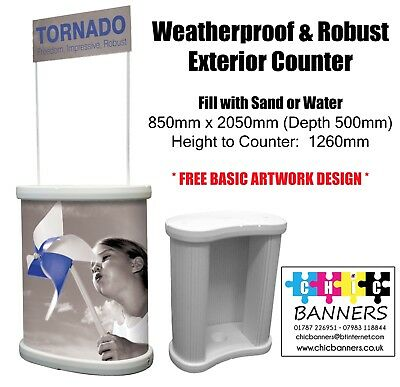 Tornado External Outdoor Counter Exhibition Display Trade Counter With Header