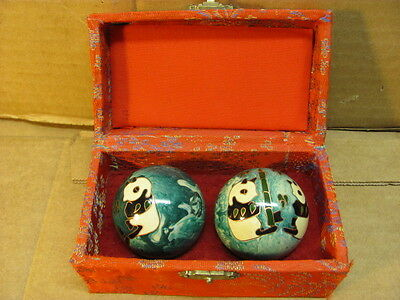Vintage Chinese Baoding Balls for Exercise and Stress Relief--Red Style Box