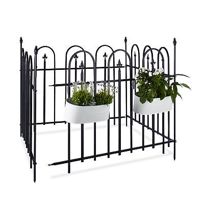 Garden Fence Metal Set with Posts and Fence Panels, Powder-Coated Iron, Antique