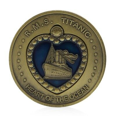 Titanic RMS Heart Of The Ocean Medal Commemorative Challenge Plated Bronze Coin