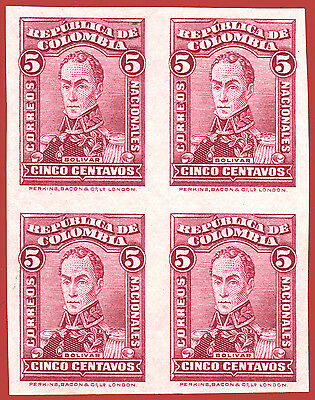 Colombia 1924 Simon Bolivar, 5 C. lilac red, Mi 276, Yv 246, IMPERFOPRATED