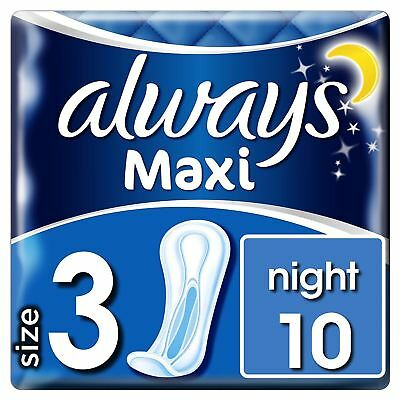 Always Maxi Night Sanitary Towels Pads No Wings Odour Protection Soft Pack of 10