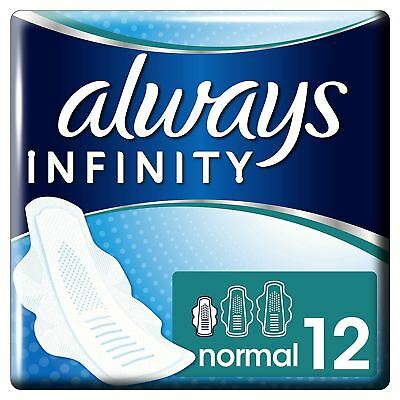 Always Infinity Sanitary Towels Pads Normal With Wings Soft Flexible Pack of 12