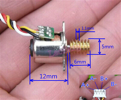 Mini 2-Phase 4-Wire 10MM 18°Angle Stepping Stepper Motor with Copper Worm Gear
