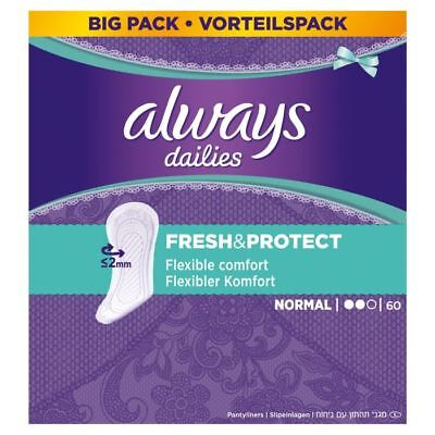 Always Dailies Panty Liners Normal Fresh & Protect Odour Neutralising Pack of 60