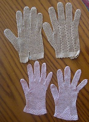 Vintage gloves, 2 pairs of ladies crocheted gloves, one pink, one tan