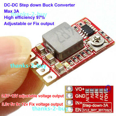 DC 5~24v to 3.3v 5V 9V 12v 3A Adjustable Buck Step down Voltage Regulator Module