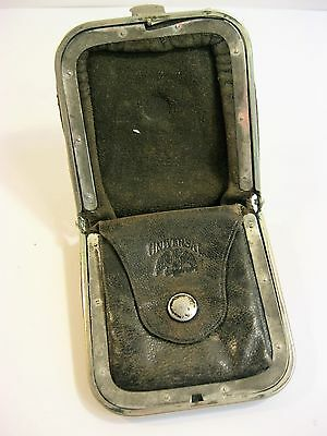 Antique Universal Black Leather Expanding Coin Purse