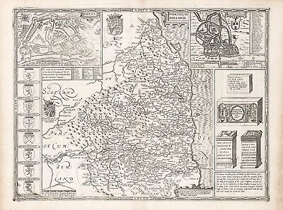Old Vintage Northumberland England decorative map Speed ca. 1676 paper or canvas