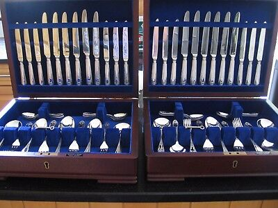 Mappin and Webb Silver Plate 12 place Cutlery Canteen Set, 118 pieces