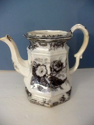 Antique 1842-67 E Challinor Rose Coffee Tea Pot Ironstone Missing Lid Flower Pot