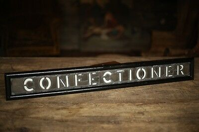 Victorian Leaded glass shop sign 'Confectioner' with opaline lettering