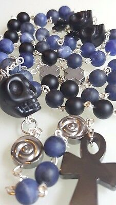 Day of the Dead Sugar Skull Gothic Biker Sodalite Onyx Rosary Necklace Unisex