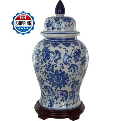 Porcelain 18-inch Blue And White Accent Floral Temple Jar with Removable Lid