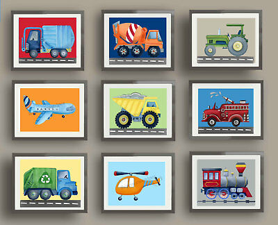 transportation vehicles boys car track nursery bedding wall art decor pictures