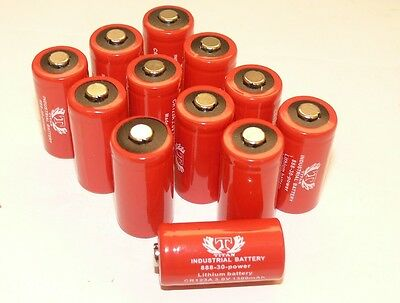 12 Tank INDUSTRIAL 3V Lithium CR123A Batteries for Camera, Flashlight etc