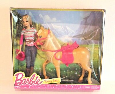 Barbie Doll & Tawny Horse with Pink Saddle Boxed Set 2013 BJF78 NEW