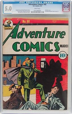 Cgc 5.0 - Adventure Comics #60 -1941- Classic Sandman Phone Box Cvr - White Pgs