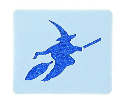 Flying Witch Broomstick Face Painting Stencil 7cm x 6cm Washable Reusable Mylar