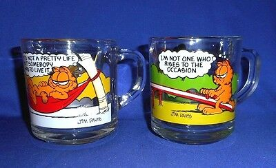 """McDonald's Garfield Glass Mugs/Cups """"It's not a pretty.."""" & """"I'm not one who.."""""""