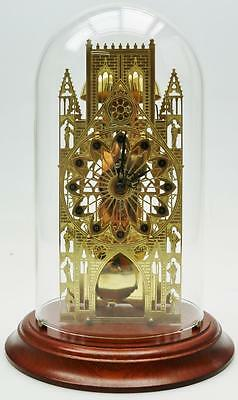 Vintage 8 Day Franz Hermle Brass Cathedral Passing Strike Skeleton Mantel Clock