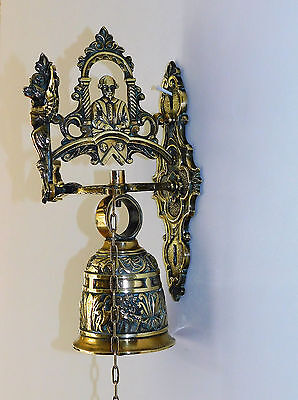 Antique Ornate Solid Brass Door Bell Unusual Bell Angel Dragon Home decor