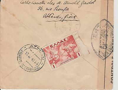 Greece 1940 cover to France - Censored WWII Control Postal Militaire Airmail