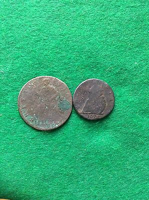 William/Mary Two Copper Coins. Detector Finds
