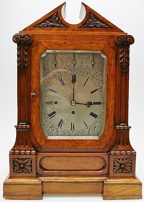Rare Antique Scottish Carved Oak Triple Fusee Musical 4/8 Bell Bracket Clock