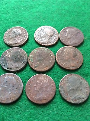 Charles 2nd  (9)copper Farthings  Detecting Finds