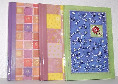 Set of 3 Hardcover Blank Journals Notebooks Diaries Crafts Lined Pages New