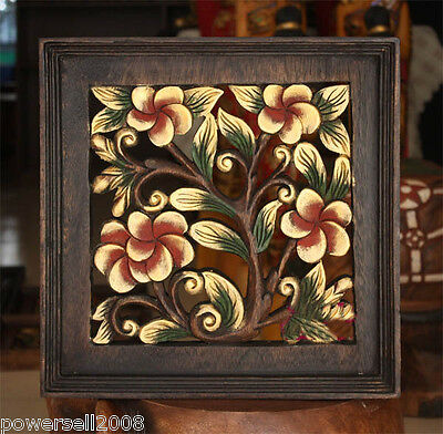 /Southeast Asia Style Hand Made Carved Wooden Floral Wall Decoration Painting.