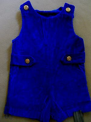 Vintage little boys royal blue velvet one piece shorts/metal buttons/Circa 1970