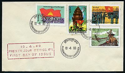 Kambodscha Khmere 1980 Freimarken Definitives 444-447 FDC First Day Cover / 3