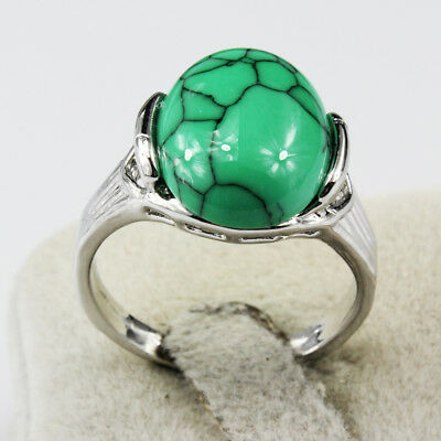 Turquoise Gemstone Fashion  Jewelry 925 Silver Plated Men Women Ring Size 8