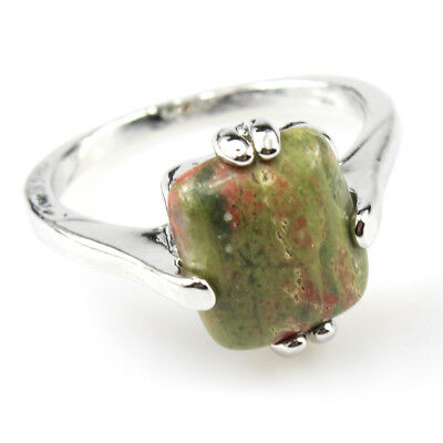 Unqiue Natural Anyolitel Gemstone 925 Silver Plated Men Women Ring Size 10