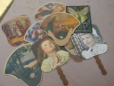 Lot of Antique Cardboard Funeral Home Collector Fans