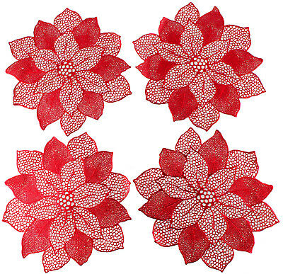 Christmas Poinsettia Holiday Flower Dining Placemats Set of 4